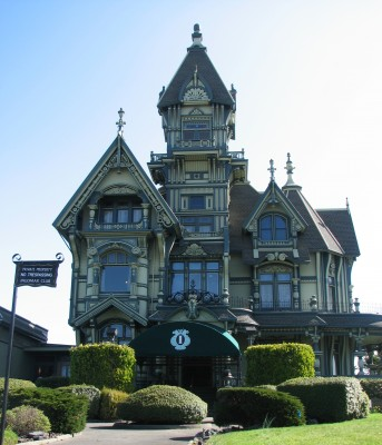 The Historic Carson Mansion - Eureka, California.  Constructed 1884 - 1886.  Architectural Style - A Mix of Several Victorian Styles, Including Eastlake, Italianate, Queen Anne (primary), and Stick.