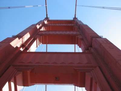 Golden Gate Bridge from the Sunroof of the Car