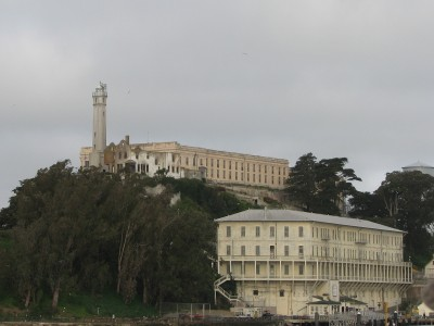 Alcatraz Island - Buildings (L to R): Lighthouse, Warden's House Ruin, Cell Block Building, Barracks/Apartments