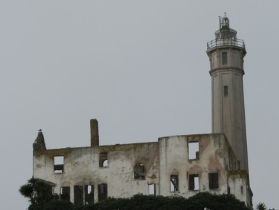 The Warden's House Ruin and the Lighthouse on Alcatraz Island
