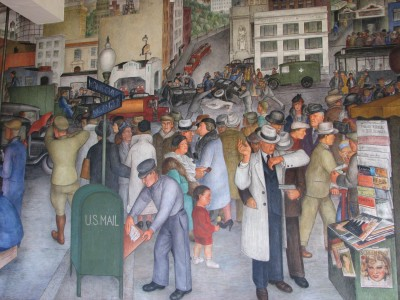 Coit Tower Mural - Notice the Robbery at Front Right and the Car Accident at Rear Center