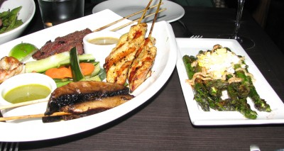 E&O Asian Kitchen - Satay Platter and Local Asparagus - YUM!