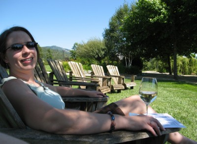 Relaxing with a Glass at Schmidt Family Vineyard - August 2011