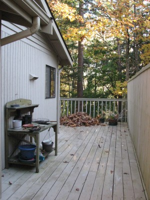 First I swept all the leaves to the edge of the deck