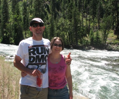 Jon and I pose for a scenic moment by the Wenatchee River along Highway 2.  (Ignore Jon's cockeyed hat please!)