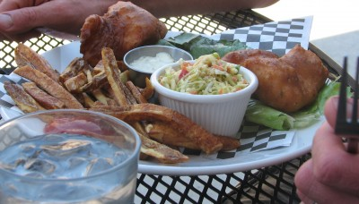 Jon's Salmon Fish and Chips at the Milepost 111 Brewery - YUM!