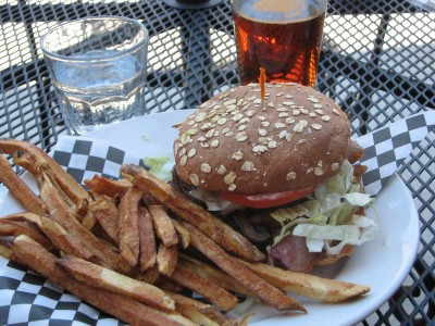 My Bacon Bleu Burger with Gorgonzola Cheese and Sauteed Mushroooms - Scrumptious!