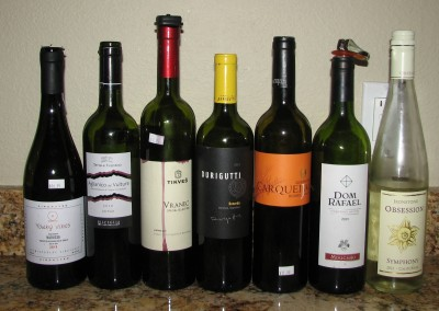 Left to Right: Young Vines Xinomavro, Terra di Vulcano Aglianico del Vulture, Tikves Vranec, Durigutti Bonarda, Dom Rafael Mouchao, and Ironstone Obsession Symphony