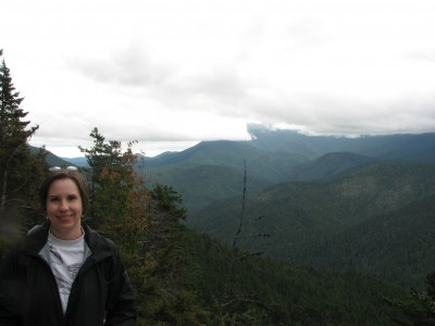 Me on our way up to Hurricane Ridge - that smudge above my right shoulder is a raindrop on the camera lens.