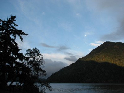 The moon over Lake Crescent