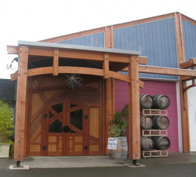 The exterior at Harbinger Winery with those big wooden doors
