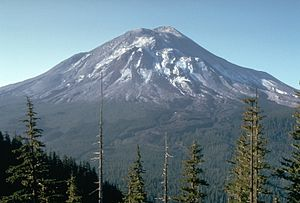 Mount St. Helens on May 17, 1980, one day before the eruption.   (Photo courtesy of Wikipedia)