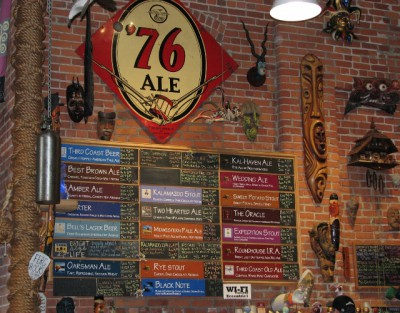 The wall of beers at Bell's Brewery
