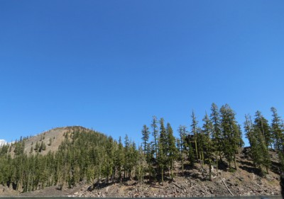 Wizard Island – the cinder cone shows well on the left, but you can't see the crater at the top from the boat.