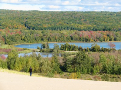 The view of Glen Lake from the top of the first dune