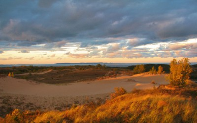 A view of the dunes, with North and South Manitou Islands in the background