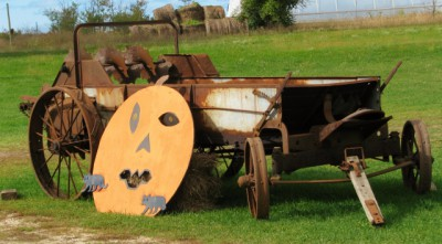 A rusty farm wagon at Douglas Valley Winery