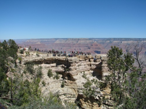 The crowd of visitors to the Grand Canyon, at Mather Point