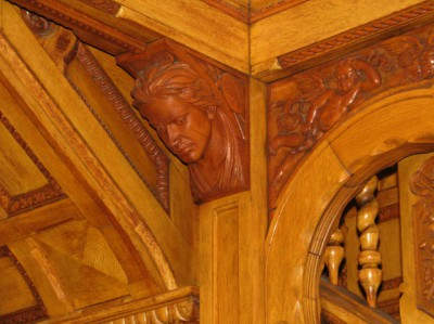 The entryway of the Hackley House has five carved heads, representing the five races of man. This one is the Native American.