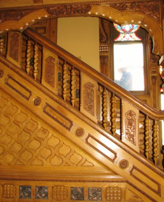 The stairway in the Hackley House – No that's not a ghost outside the window; its the painter.