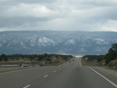 A view of the mountains on the way to Santa Fe – maybe the Jemez Mountains?