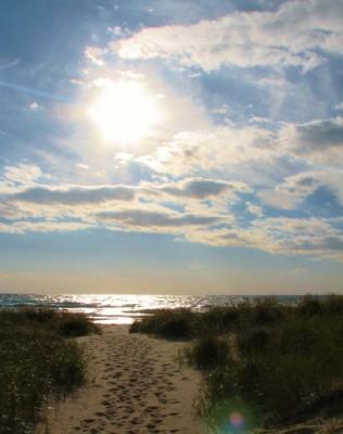 The sun sinks lower over Lake Michigan