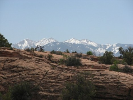 Near the beginning of our hike out to Delicate Arch, with the La Sal Mountains in the background