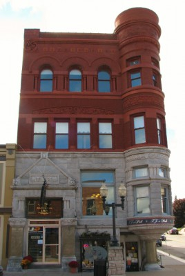 A historic hotel in downtown Manistee, Michigan