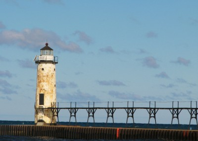 The Manistee North Pierhead Light – built in 1927, with a Fifth Order Fresnel lens
