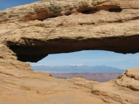Mesa Arch with the La Sal Mountains in the Background