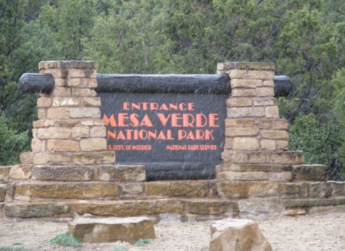 The entrance sign at Mesa Verde National Park – Yep, that's snow…