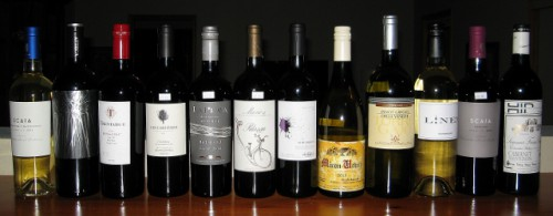 My Mixed Case of Wine – I sampled the Scaia on the far left, and the Gerald Talmard , which is fifth from the right, with the bright yellow label.