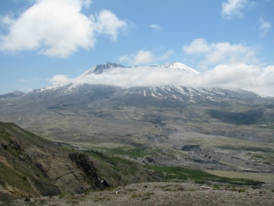 The partially recovered valley below the volcano.