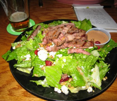 My Nutty Blue Salad – dried cranberries, candied walnuts, blue cheese crumbles and Angus steak strips