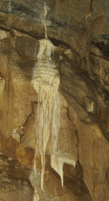 Flowstone that shows how white the marble at the Oregon Caves used to be