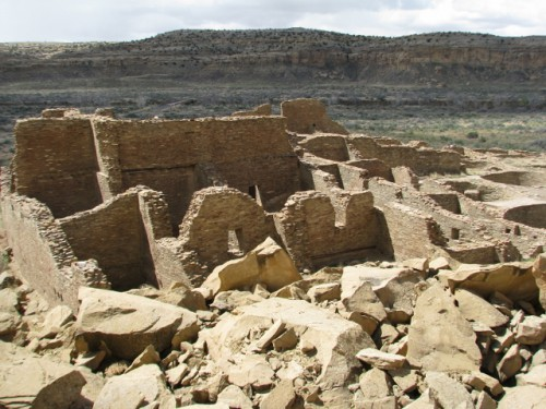 Pueblo Bonito From Above – You can see the large rockfall that destroyed part of the site