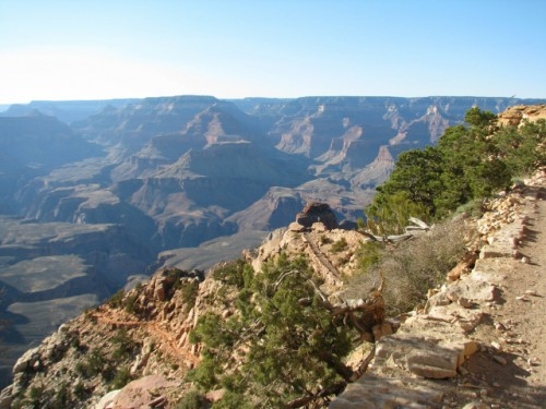The South Kaibab Trail – if you can see the tiny person near the middle of the photo, that's Ooh Aah Point