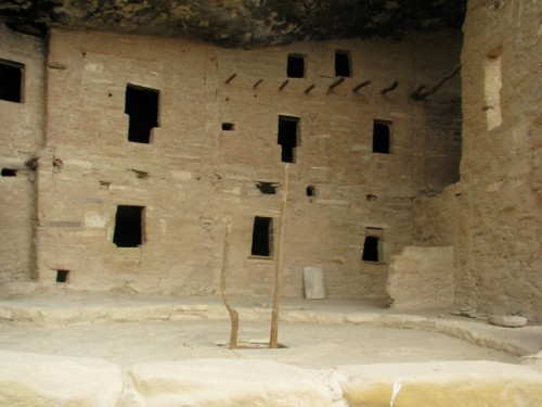Spruce Tree House – With a View of the T-Shaped Windows A Kiva is in the Foreground