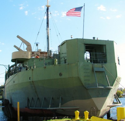 The back of USS LST-393.