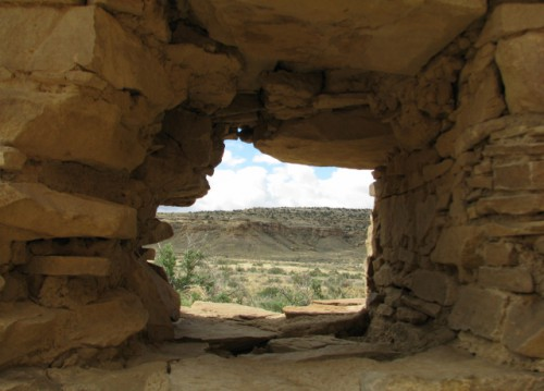 View of the Canyon through a window at Hungo Pavi