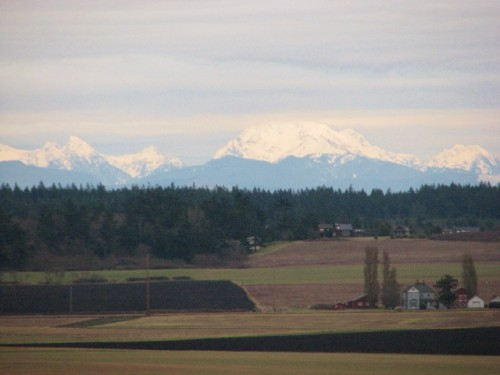 View of the Cascade Mountains from Ebey's Landing National Historical Reserve