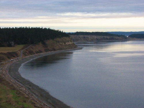 From the bluff looking down at the beach at Ebey's Landing