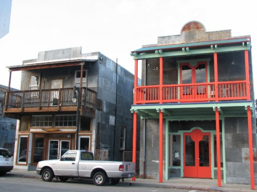 A couple of the more maintained buildings in downtown Isleton, California