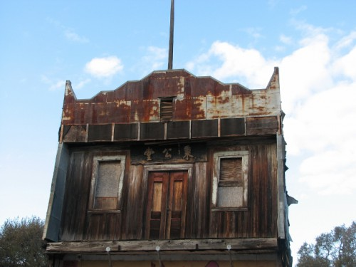 The second story of an abandoned building in Isleton – its Chinese immigrant past still visible.