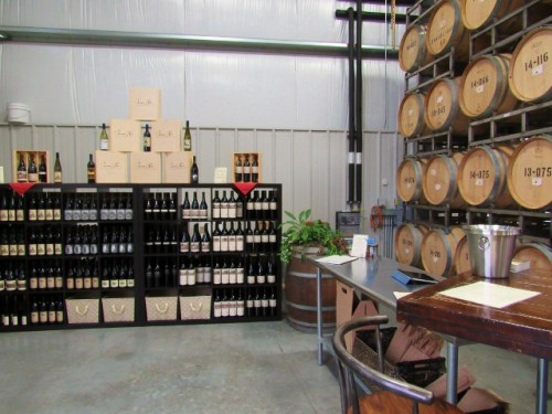 The Owen Roe Tasting Room - in the barrel room.