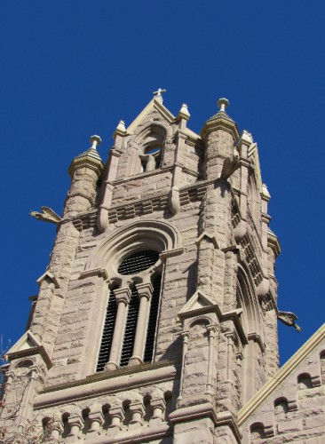 One of the towers of the Cathedral of the Madeleine, with its flying Gargoyles.