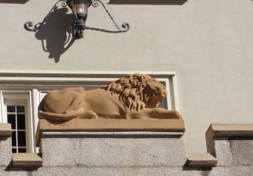 The detail of the lion on the Lion House