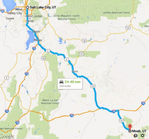 Salt Lake City to Moab