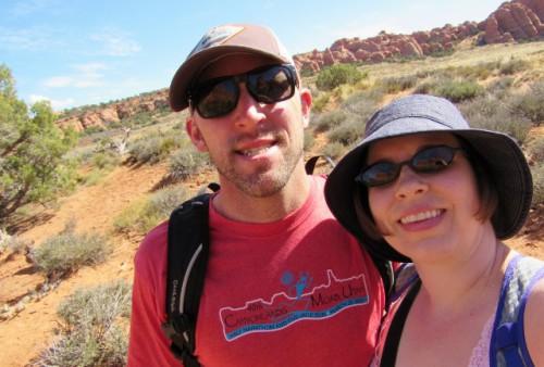 Jon and me on our way to Broken Arch - Jon is rockin' his half-marathon shirt