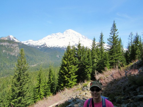 Me with Mount Rainier on Rampart Ridge